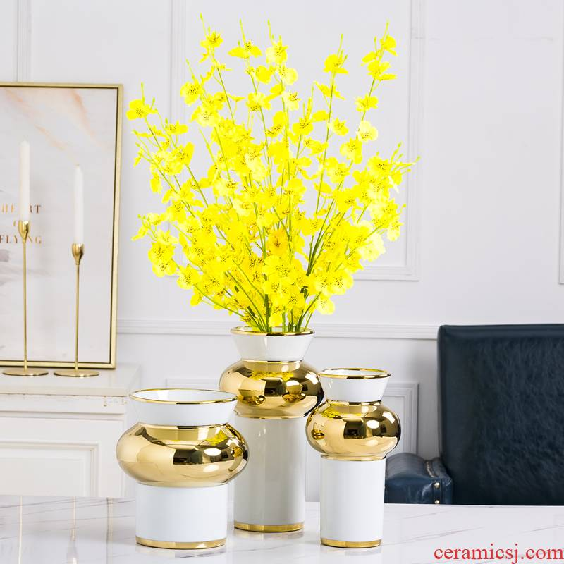 Jingdezhen ceramic vase furnishing articles Nordic light key-2 luxury living room table dry flower arranging flowers water raise exposure household act the role ofing is tasted
