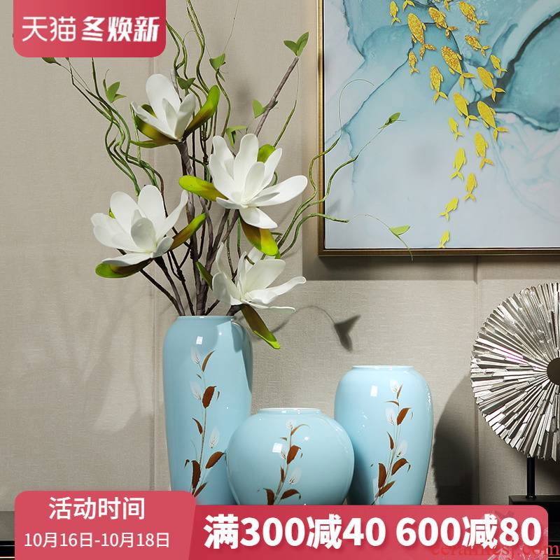 Modern new Chinese style ceramic vase furnishing articles sitting room light flower arranging machine table wine TV ark key-2 luxury home decoration