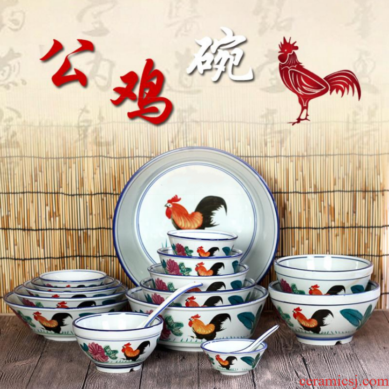Organic ceramic tableware rooster bowl of restoring ancient ways is old - fashioned nostalgic old home chicken male bowl bowl of traditional soil bowl