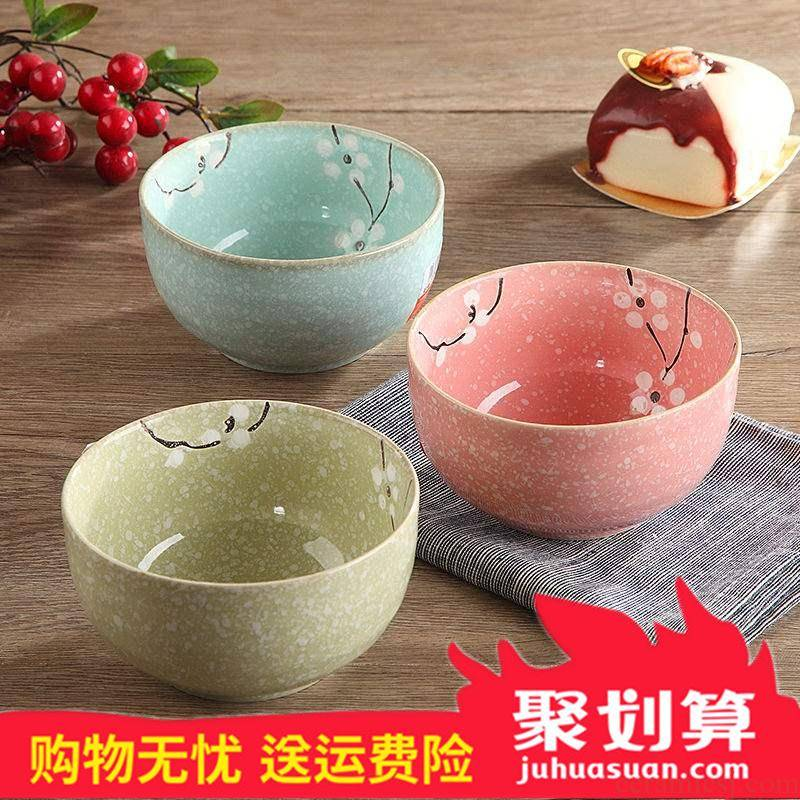 Ceramic bowl suit household to eat three pack 】 【 the microwave bowl of noodles bowl bowls small bowl bowl for dinner
