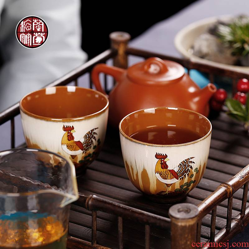 By patterns of jingdezhen pure manual hand - made prosperous up ceramic cups master cup single cock cup