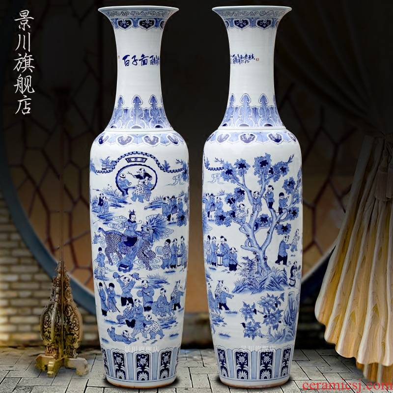 Jingdezhen blue and white porcelain hand - drawn characters of the ancient philosophers figure sitting room of large vase household ceramics furnishing articles of modern jewelry