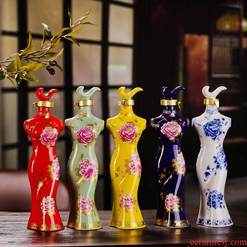 1 kg of jingdezhen ceramic bottle is empty bottles of wine bottle wine cheongsam decoration decorative furnishing articles wine bottle to the lock