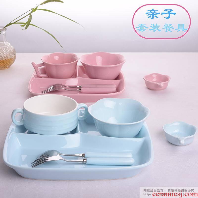 Scene ruyi lili eat fast food means household space plate plate plate FanPan porcelain tableware set combination