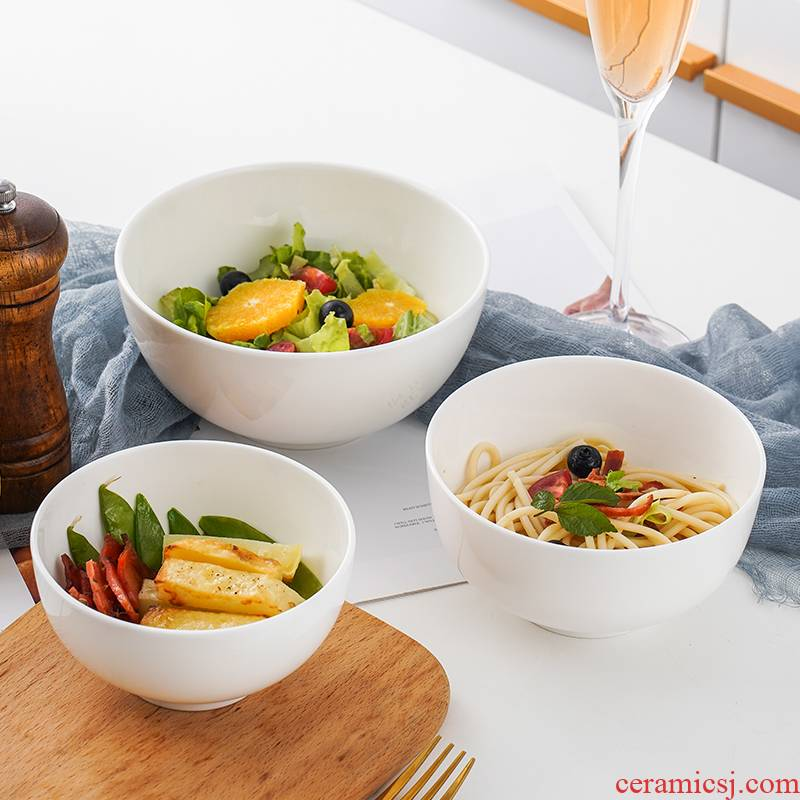 Jingdezhen porcelain bowl meal to eat ipads ceramic bowl of rice bowl large of noodles bowl of soup bowl bowl of pure white bowls