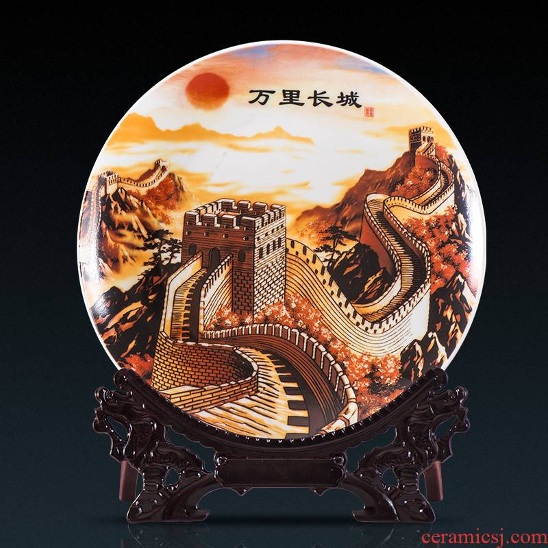 Jingdezhen ceramic decoration plate sit plate of Chinese style household act the role ofing is tasted, the sitting room TV ark, wine desktop hang dish furnishing articles