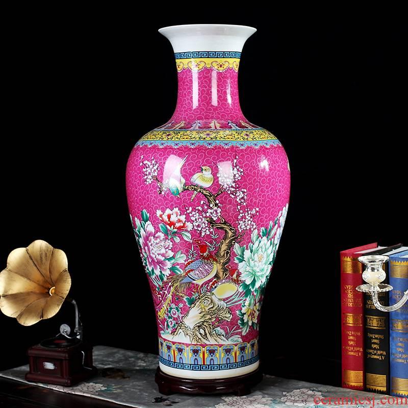 Large powder enamel vase furnishing articles of jingdezhen ceramics flower arranging Chinese sitting room floor office decoration