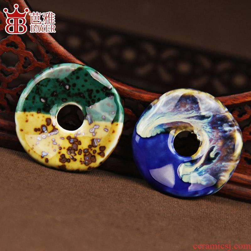 Jingdezhen ceramic chip diy checking out colorful variable macroporous ceramics ring pendant necklace pendant accessories