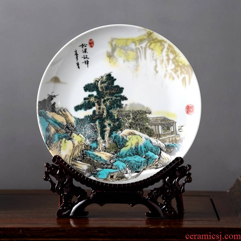 Hang dish of jingdezhen ceramics handicraft decoration plate porch ark, sit plate office furnishing articles that occupy the home decoration