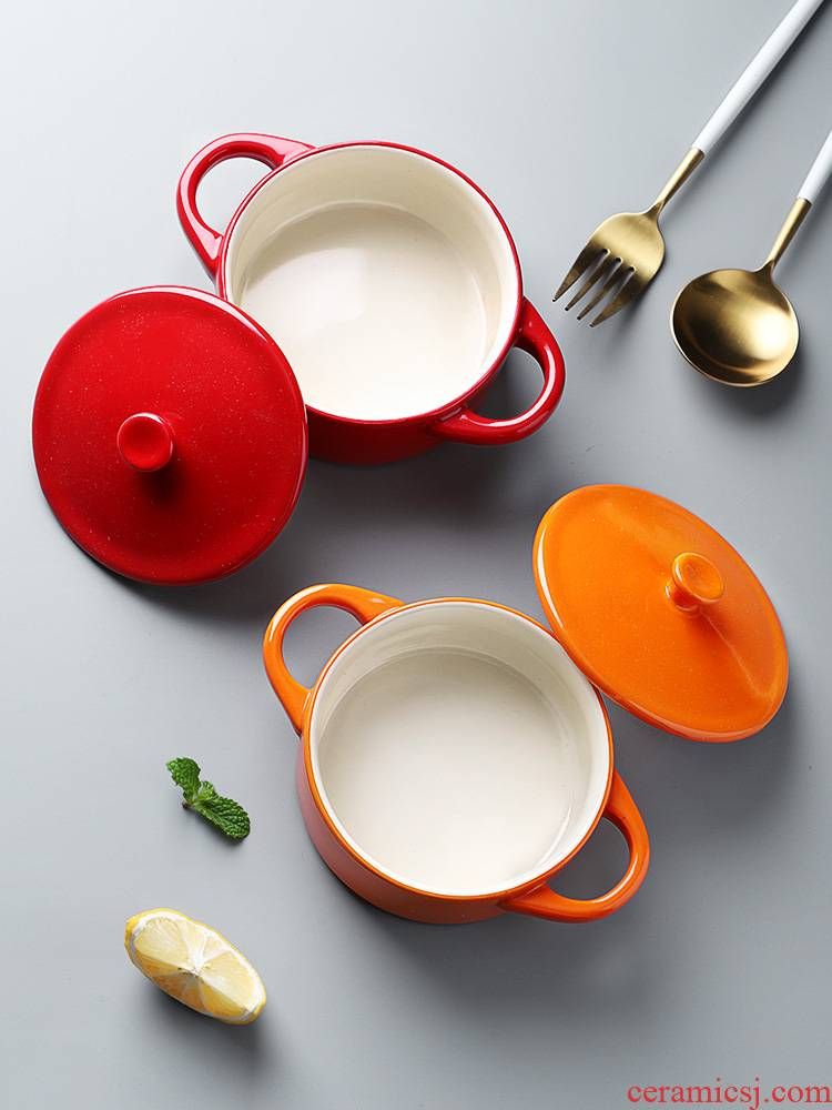 Ears ceramic steamed custard with a small bowl of chicken household with cover high - temperature baby baby braised egg steamed egg bowl side dish bowl