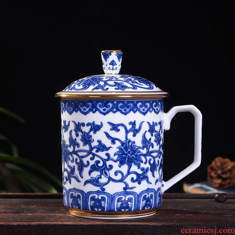 Red xin gold coloured drawing or pattern of jingdezhen ceramic celadon office with cover cup tea cups water cup single CPU