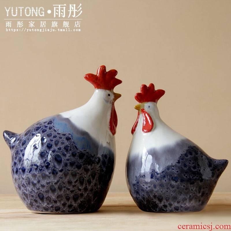 Large ceramic chicken chicken furnishing articles of jingdezhen ceramic European painting colorful to chickens variable furnishing articles