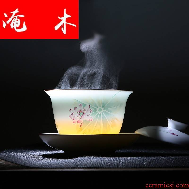 Flooded wooden ancient imperial porcelain tea tureen tea bowl of jingdezhen hand - made pastel celadon three bowls of ceramic tea