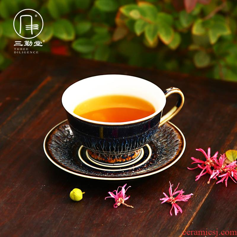 """The three regular red flower tea cups of jingdezhen tea service """"bringing suit S62002 up ceramic coffee cup dish"""