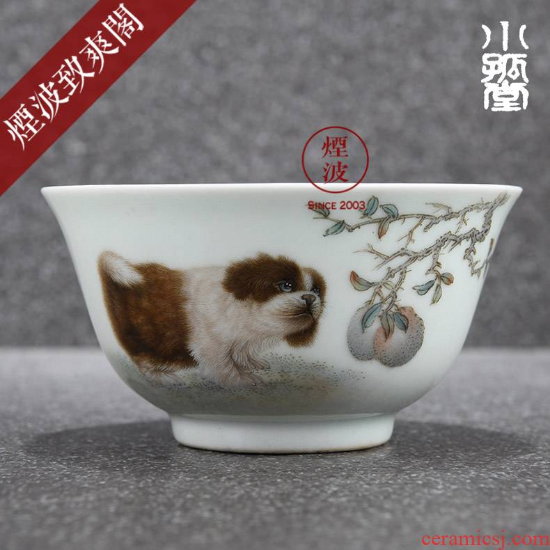 Those jingdezhen small solitary hall cream dust hand - made famille rose porcelain dog AoWang satisfied sample tea cup tea cups