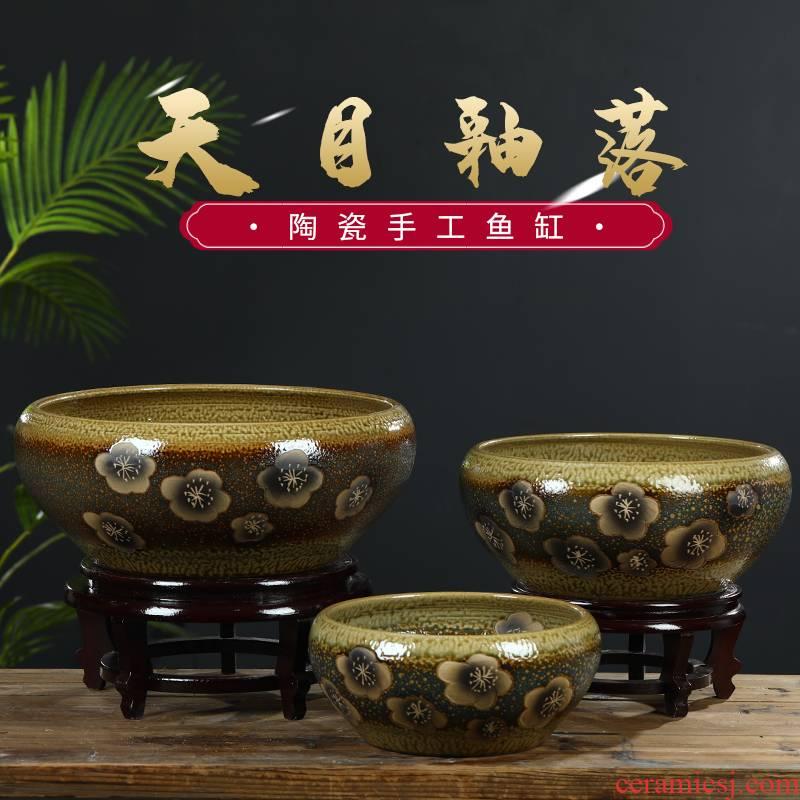 Jingdezhen ceramic aquarium small fish basin bowl lotus lotus lotus tortoise cylinder sitting room feng shui goldfish bowl
