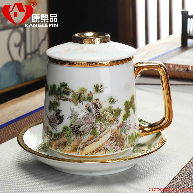 Recreational product ceramic filter gold - plated with cover with capacity of 400 ml of high level appearance high - end men and women take water cup that occupy the home
