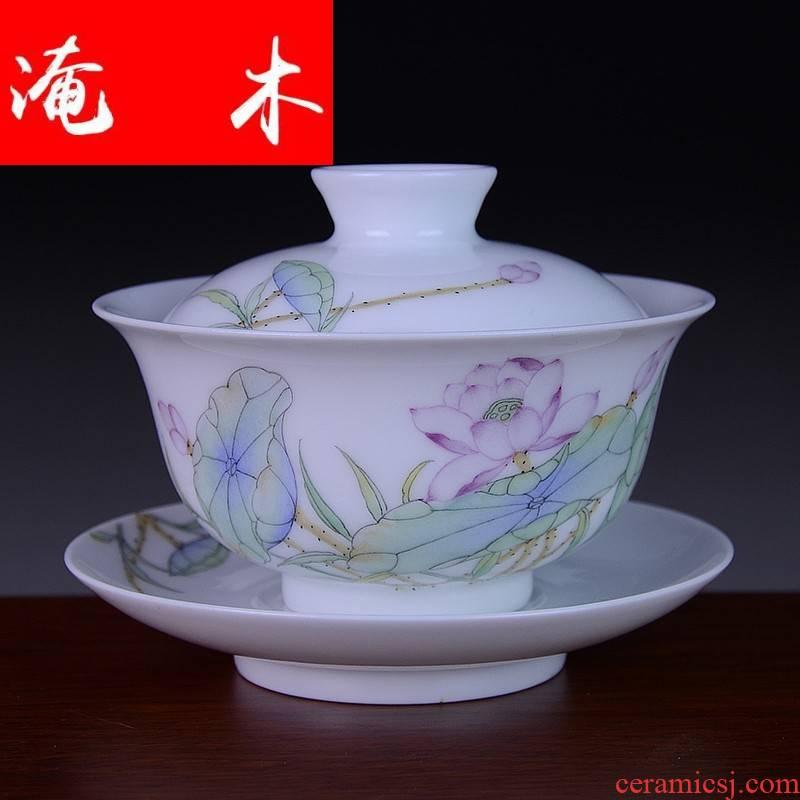 Submerged wood jingdezhen blue and white porcelain three tureen kung fu tea set only pure manual tureen hand - made pastel lotus