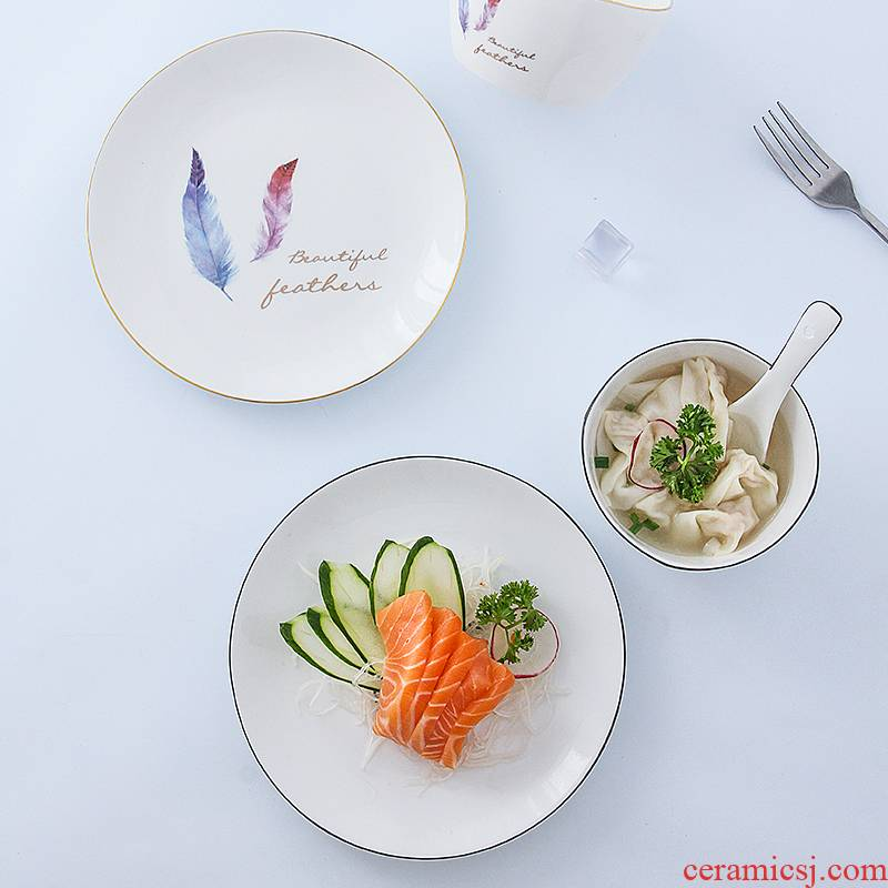 Jingdezhen ceramic dishes suit household to eat bread and butter plate parts combine Korean creative contracted ipads porcelain tableware