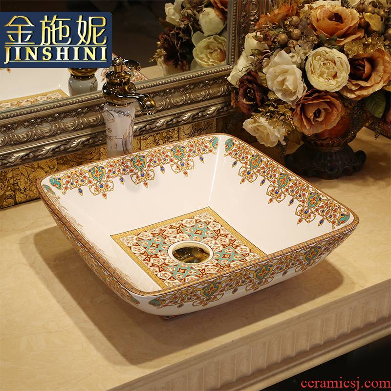 Gold cellnique stage basin of jingdezhen ceramic lavabo that defend bath lavatory basin square glass stones