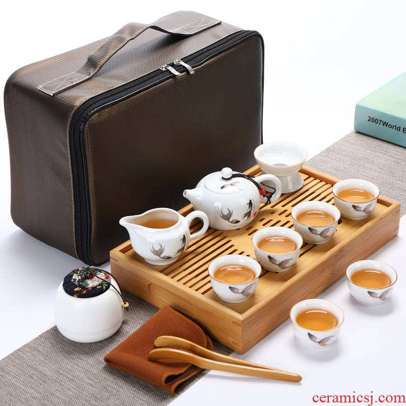 Travel tea set suit portable bag contracted household bamboo kung fu tea tray is suing tourism ceramic teapot teacup