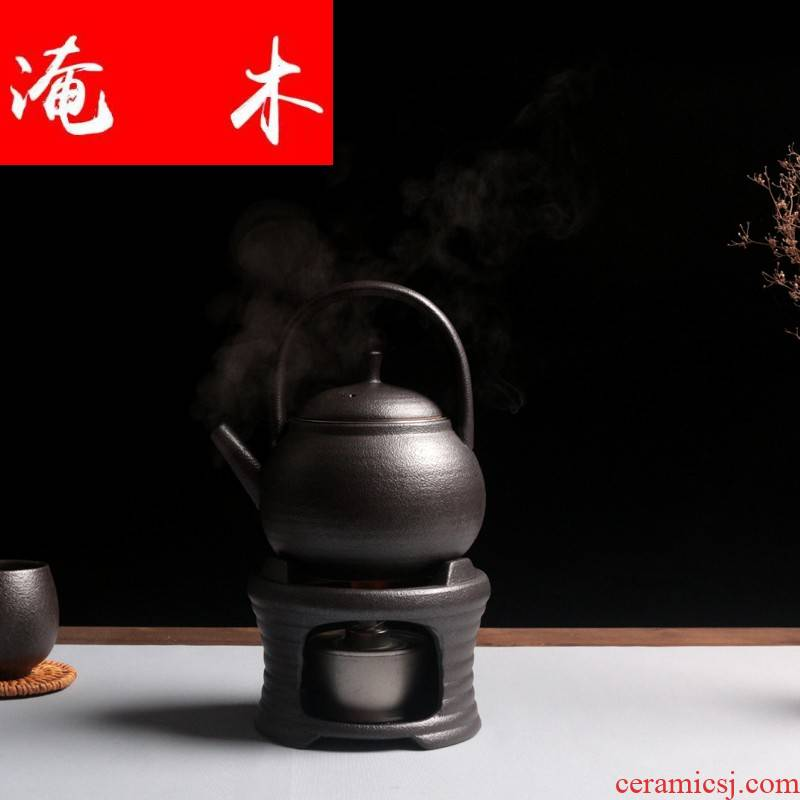 Flooded wooden Japanese coarse pottery boiling tea stove ceramic alcohol furnace flame kettle black pottery tea base of heating insulation