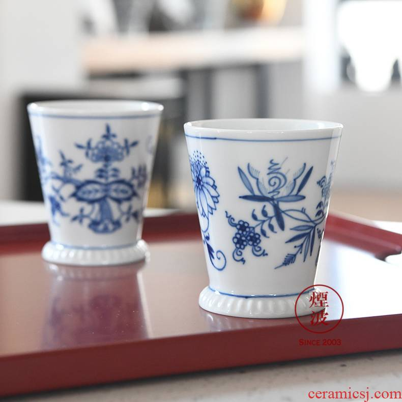 German mason mason meisen porcelain blue onion orchids wide keller cup sample tea cup 150 ml