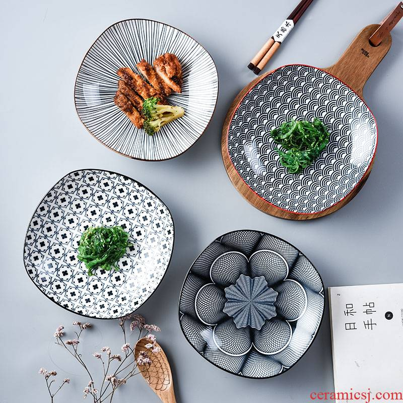 Japanese household good - & zero creative move ins small pure and fresh and the ceramic plate 8 inch deep dish dish FanPan square