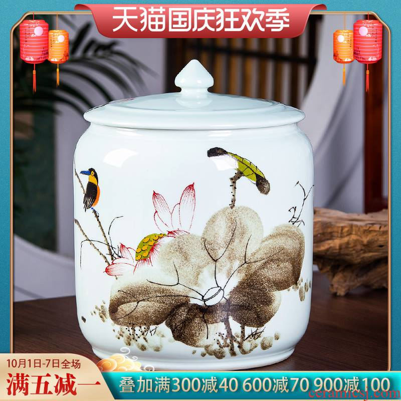 Jingdezhen hand - made ceramic caddy fixings puer tea cake storage tank to heavy large household seal pot giant moistureproof