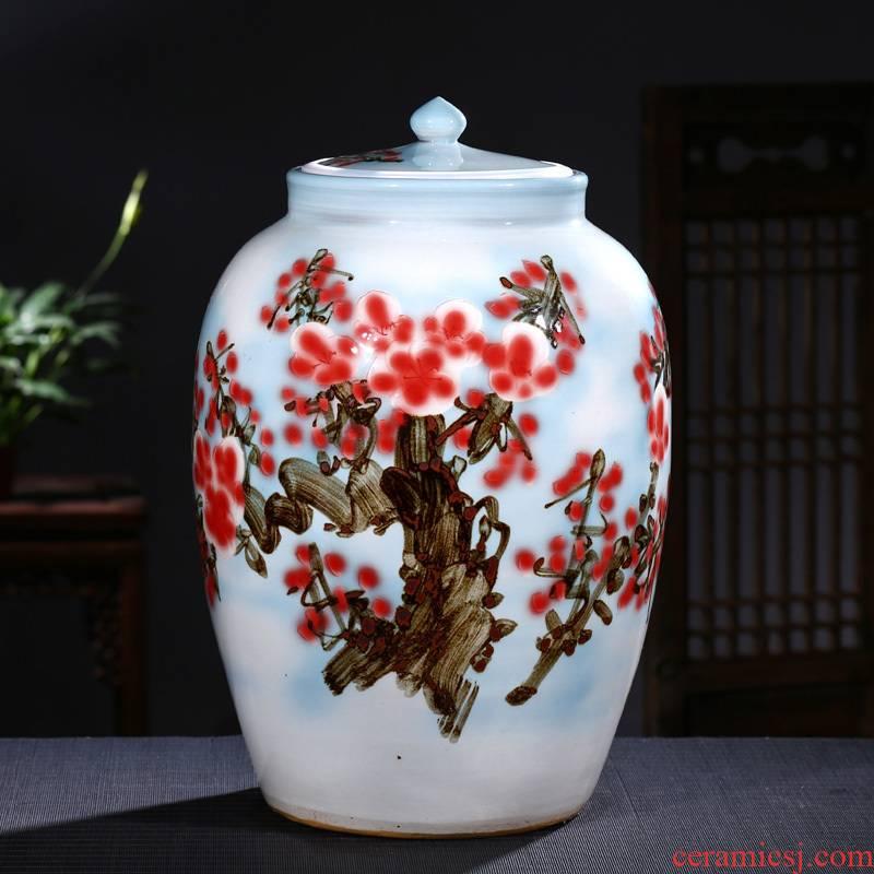 Jingdezhen ceramic barrel 50 kg ricer box with cover storage tank pickled porcelain jar tank oil cylinder cylinder tea