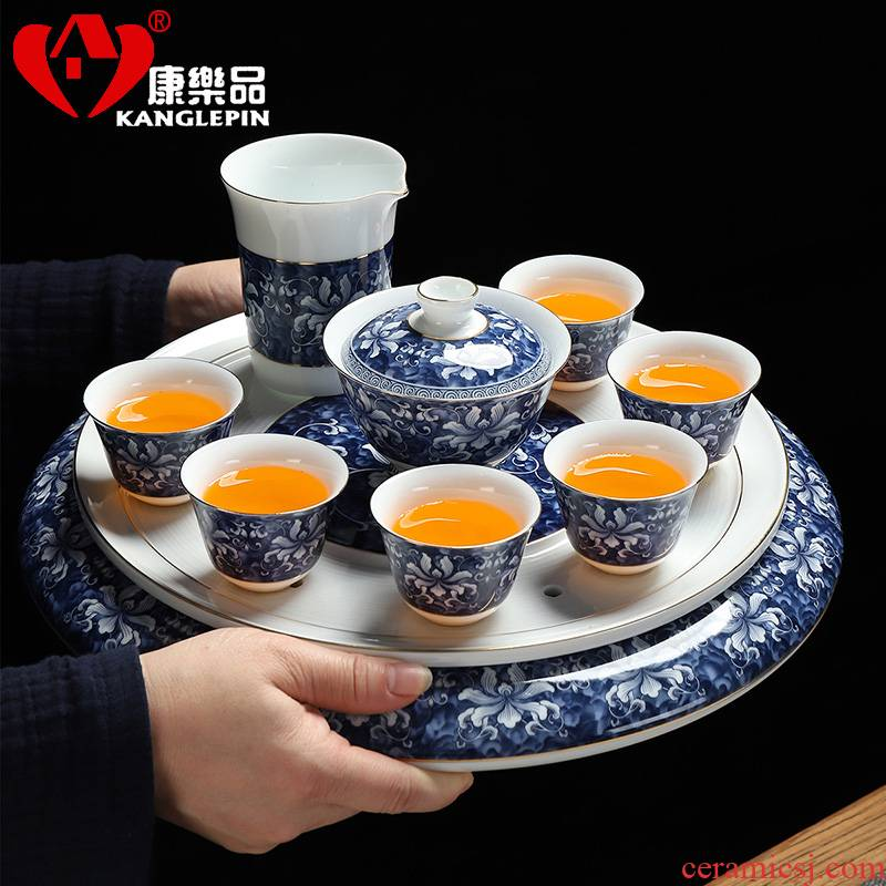 Dasheng recreational taste tea suit household contracted sitting room tea tea sets kung fu of blue and white porcelain tea set