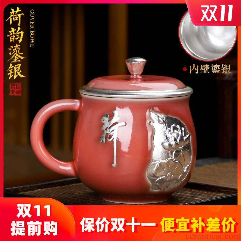 Artisan fairy lotus rhyme tasted silver gilding office glass ceramic cup creative household carry handle with cover cup single cup size