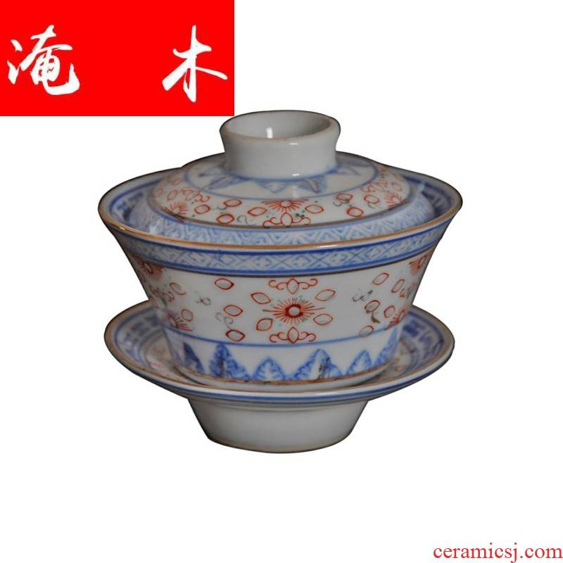 Submerged wood factory of jingdezhen porcelain and old blue and white and exquisite tureen goods only three bowl of tea bucket color restoring ancient ways and exquisite tureen pure
