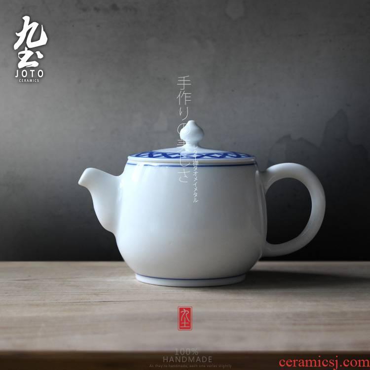 About Nine soil Japanese jingdezhen ceramic teapot household kung fu tea set under glaze color porcelain teapot little teapot