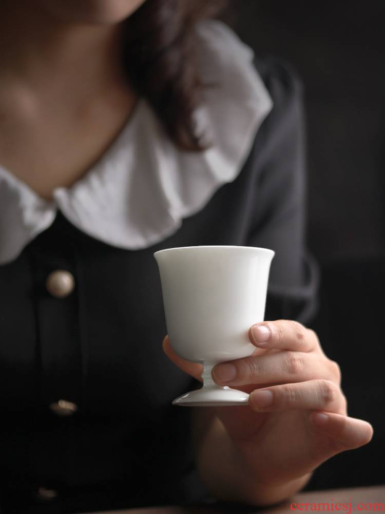Japanese zen checking ceramic tall foot cup nine soil sample tea cup kung fu tea set contracted white porcelain cup small home