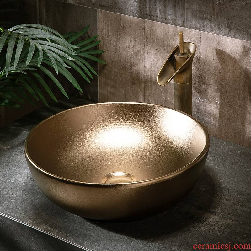 Golden stage basin sink single basin simple toilet lavatory basin basin ceramic household balcony