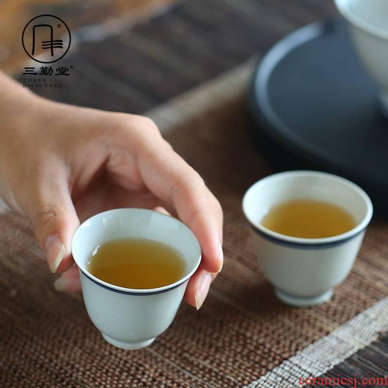 Three frequently hall double tureen jingdezhen ceramic tea cups, hand - made xuan wen kung fu tea set suit S11006