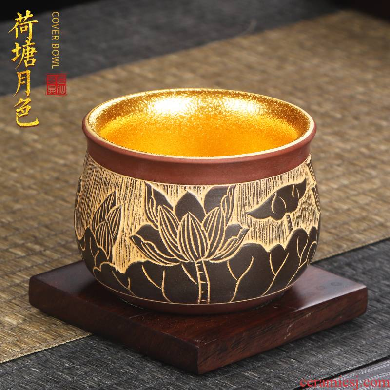 Artisan fairy gold master cup nixing pottery teacup checking ceramic household kung fu tea set personal cup sample tea cup