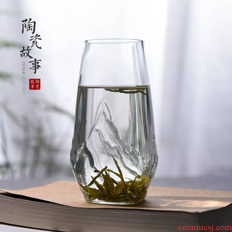 Ceramic story glass glass transparent heat mantra Japanese view mountain green tea cup home office tea drinking cups