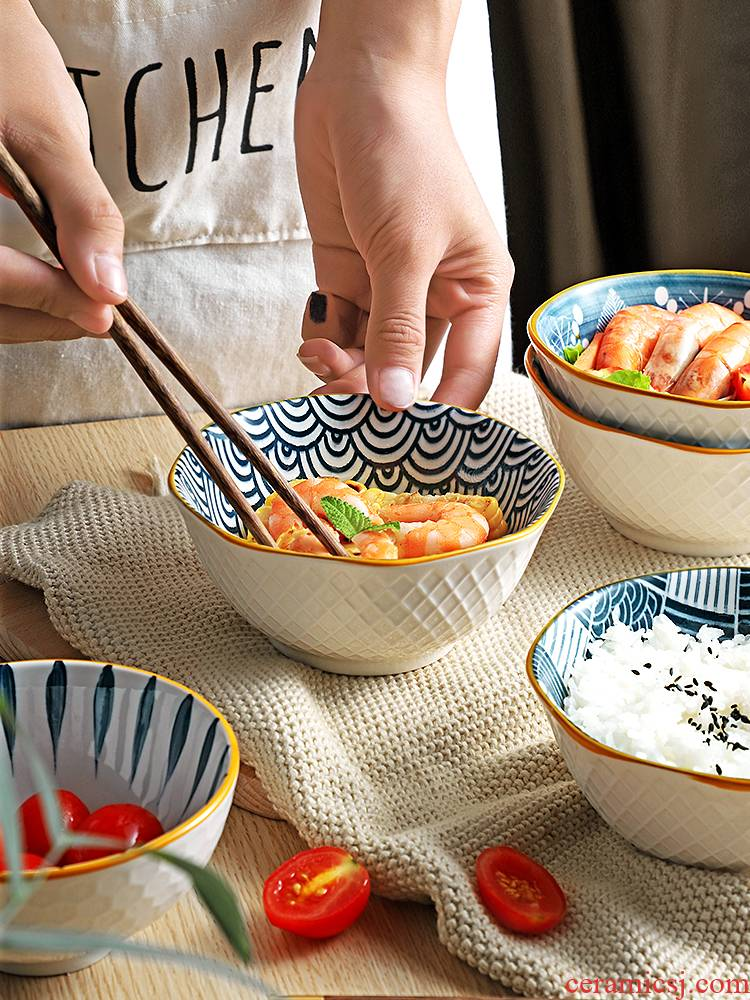Ceramic bowl individual household small bowl pull rainbow such as bowl soup bowl eat a bowl of creative move Japanese - style tableware suit ins of the wind