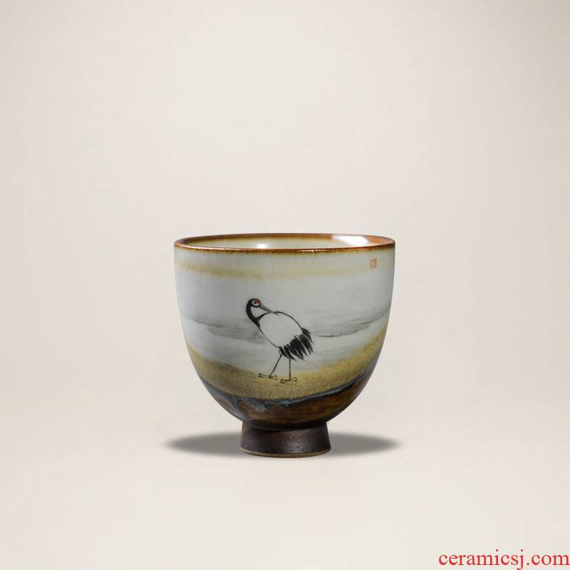 The Poly real scene coarse pottery teacup Japanese kung fu masters cup hand - made crane dance piece of retro firewood footed by hand