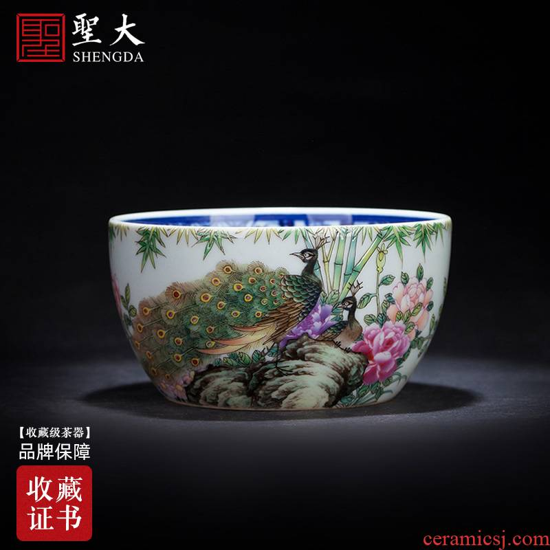Holy big ceramic kung fu tea cup of pure hand - made painting of the blue and white landscape pastel green feather coagulation cylinder cup of jingdezhen tea service