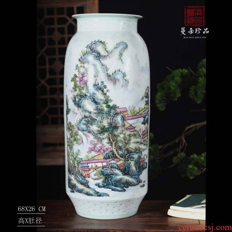 Jingdezhen pastel landscape quiver pastel landscape painting and calligraphy vase that occupy the home furnishings classical straight