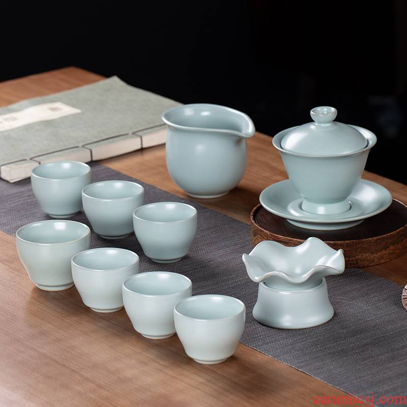 And your up kung fu tea set a complete set of home office of jingdezhen ceramic teapot GaiWanCha sea tea cups