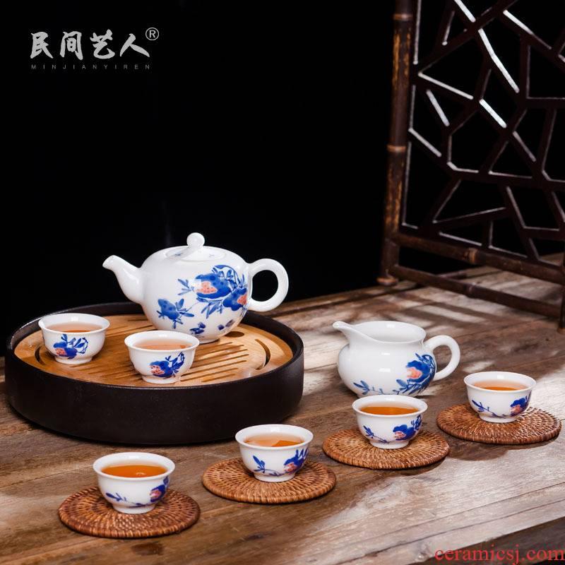 Jingdezhen ceramic kung fu tea set hand - made home of blue and white porcelain tea cup teapot set fair keller