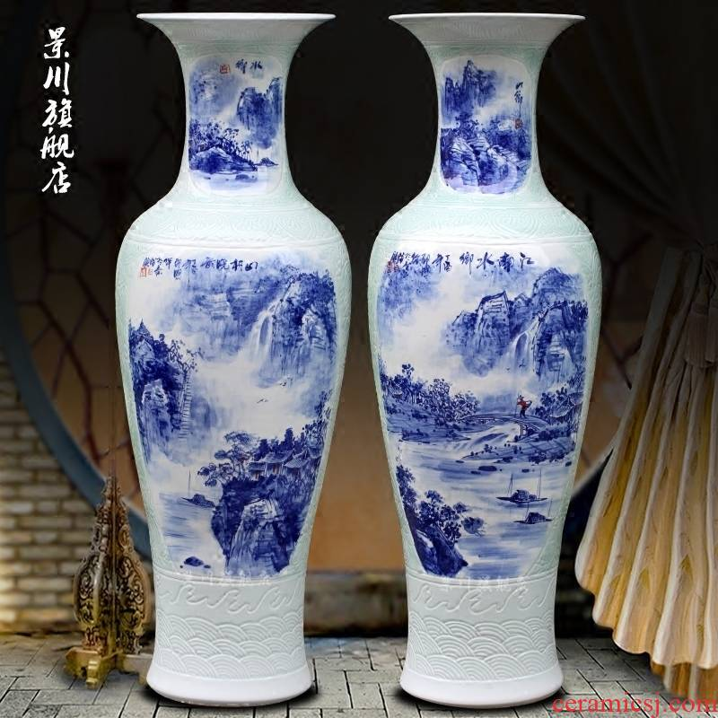 Hand - made mountain dawn rhyme landing big blue and white porcelain vase jingdezhen ceramic home sitting room hotel office furnishing articles