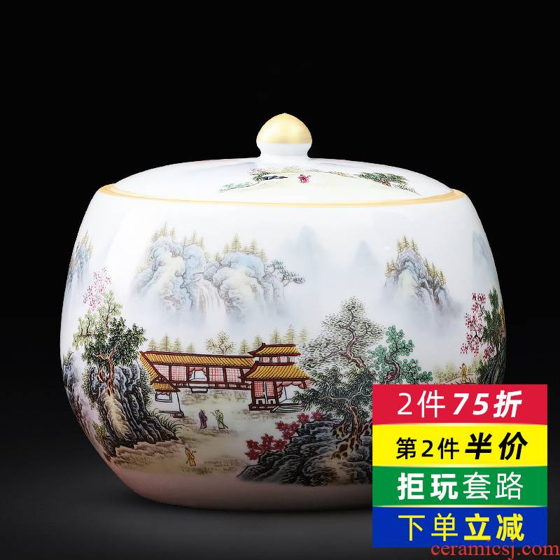 Jingdezhen ceramics hand - made pastel caddy fixings puer tea cake tin with large storage household act the role ofing is tasted furnishing articles
