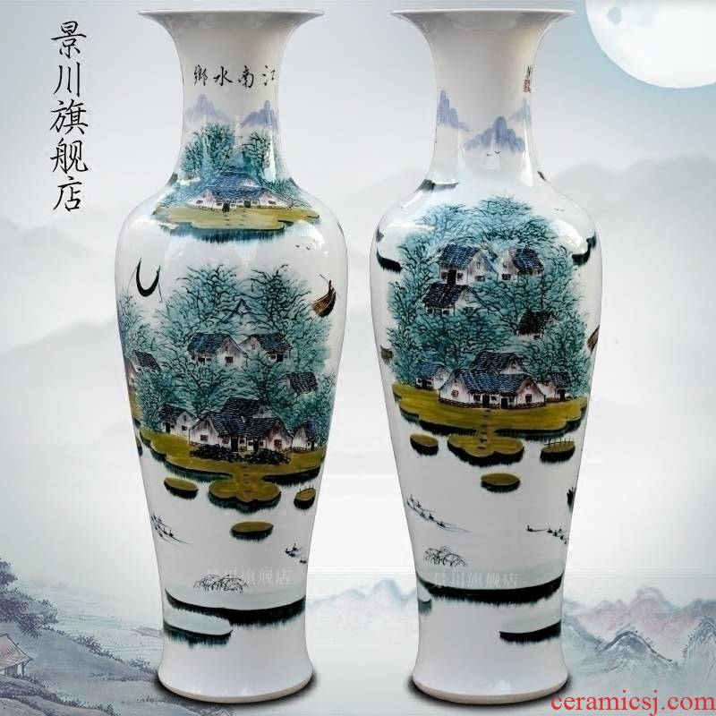 Hand - made jiangnan figure of large vases, jingdezhen ceramics home sitting room place, office decoration