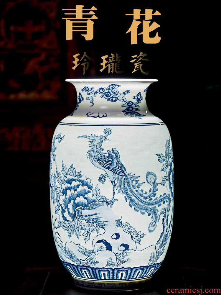 Blue and white porcelain of jingdezhen ceramics landscape painting of flowers and thin foetus vases, flower arrangement sitting room adornment of Chinese style household furnishing articles