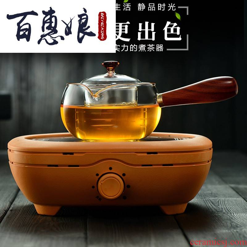 (niang spend pear wood side boil boil refractory glass teapot tea tea, tea kettle household electric ceramic
